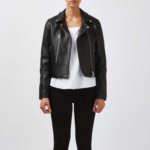 Topshop Botique Leather Biker Jacket Sz 2